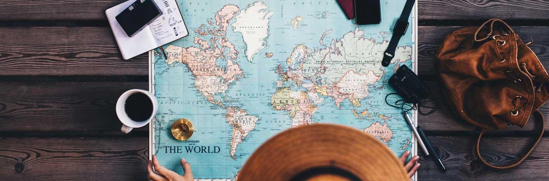 Map of world Banner Spanish Lessons Bristol